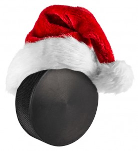 ice hockey puck santa hat